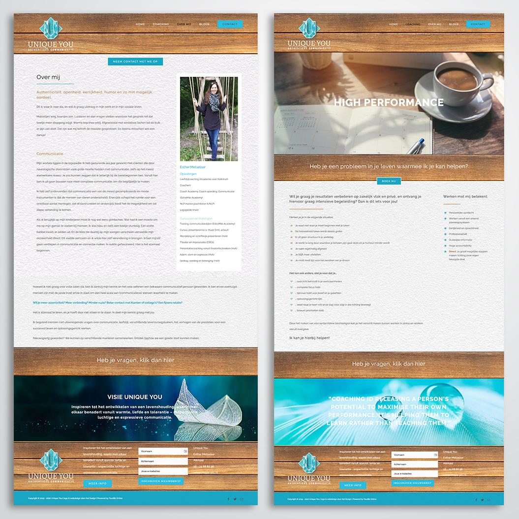 website gemaakt door Kat Design voor Unique You
