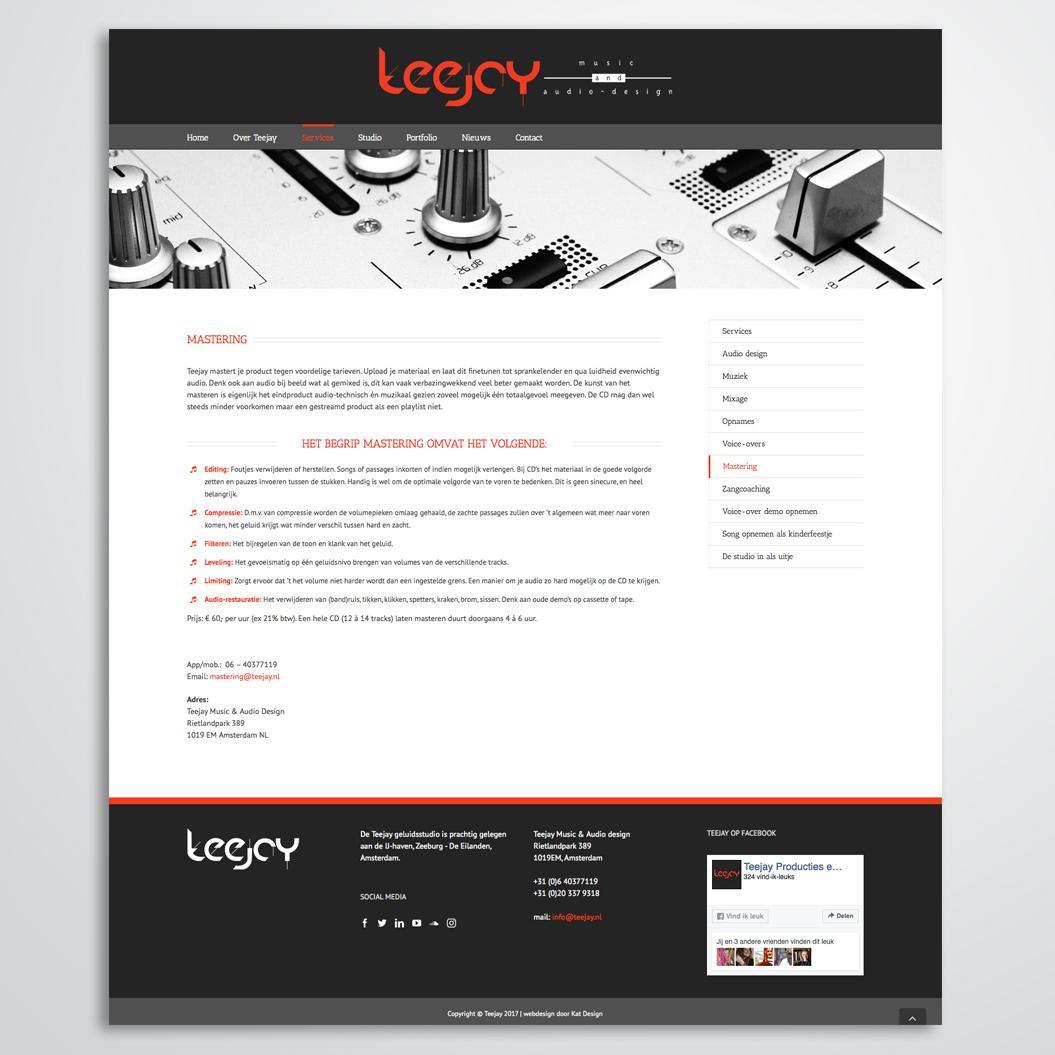 website gemaakt door Kat Design voor teejay