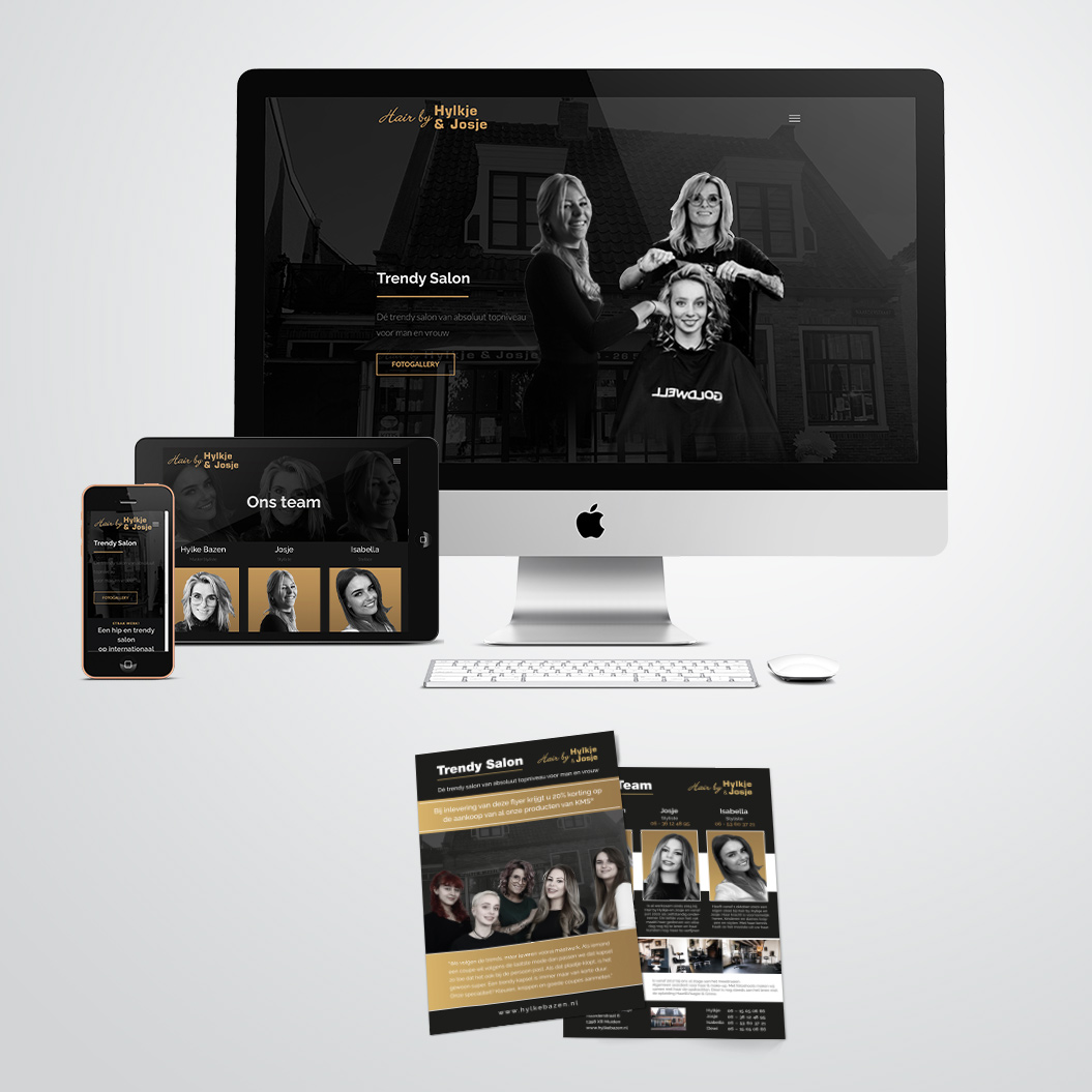 Website en flyer gemaakt door Kat Design voor kapster Hair by Hylke en Josje