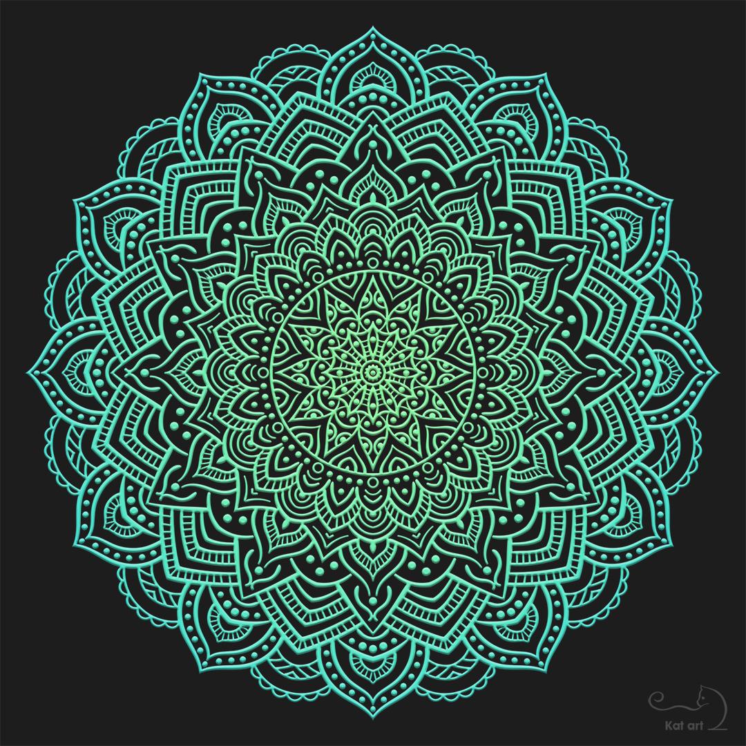 turquoise mandala gemaakt door Kat-Art