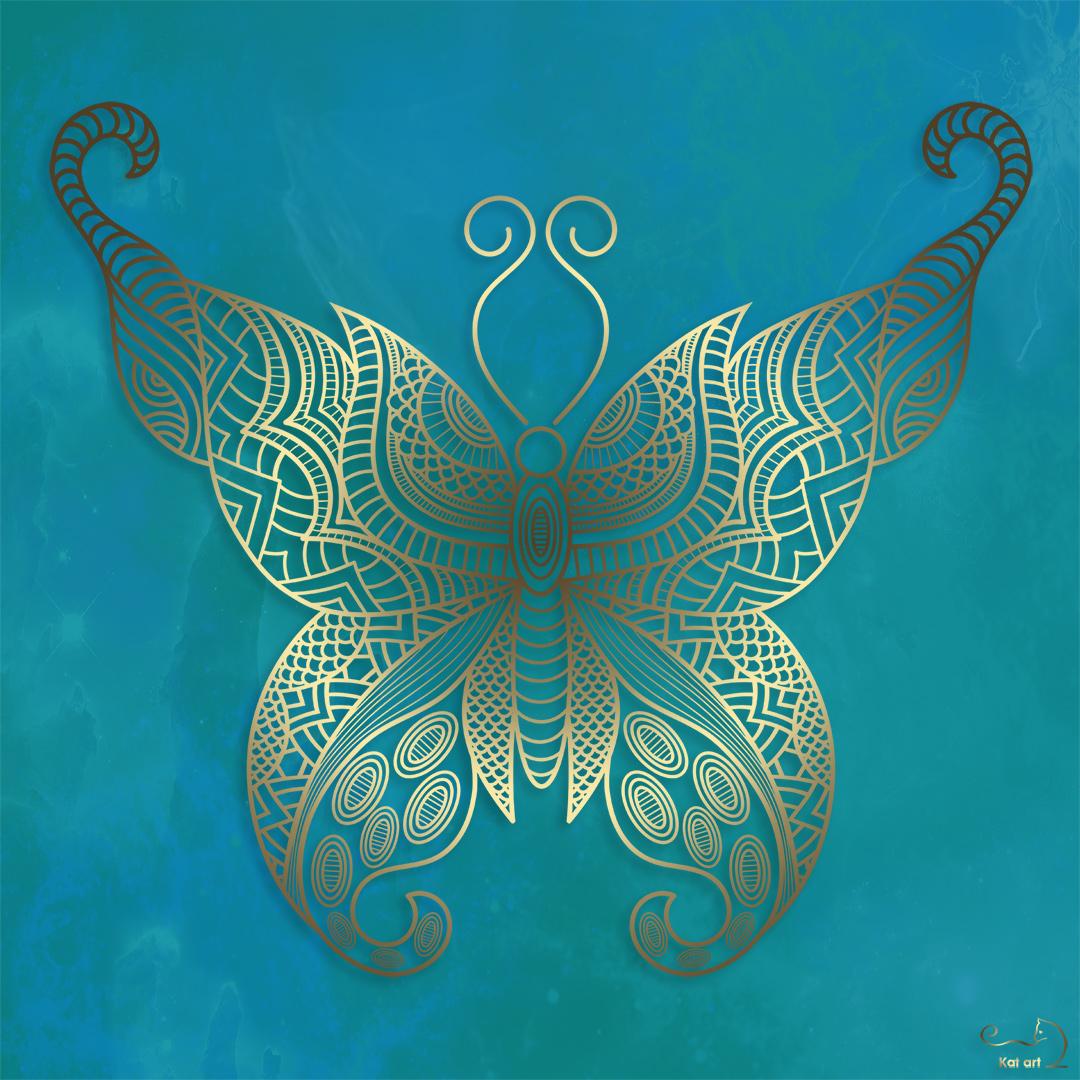 gouden vlinder gemaakt door Kat-Art