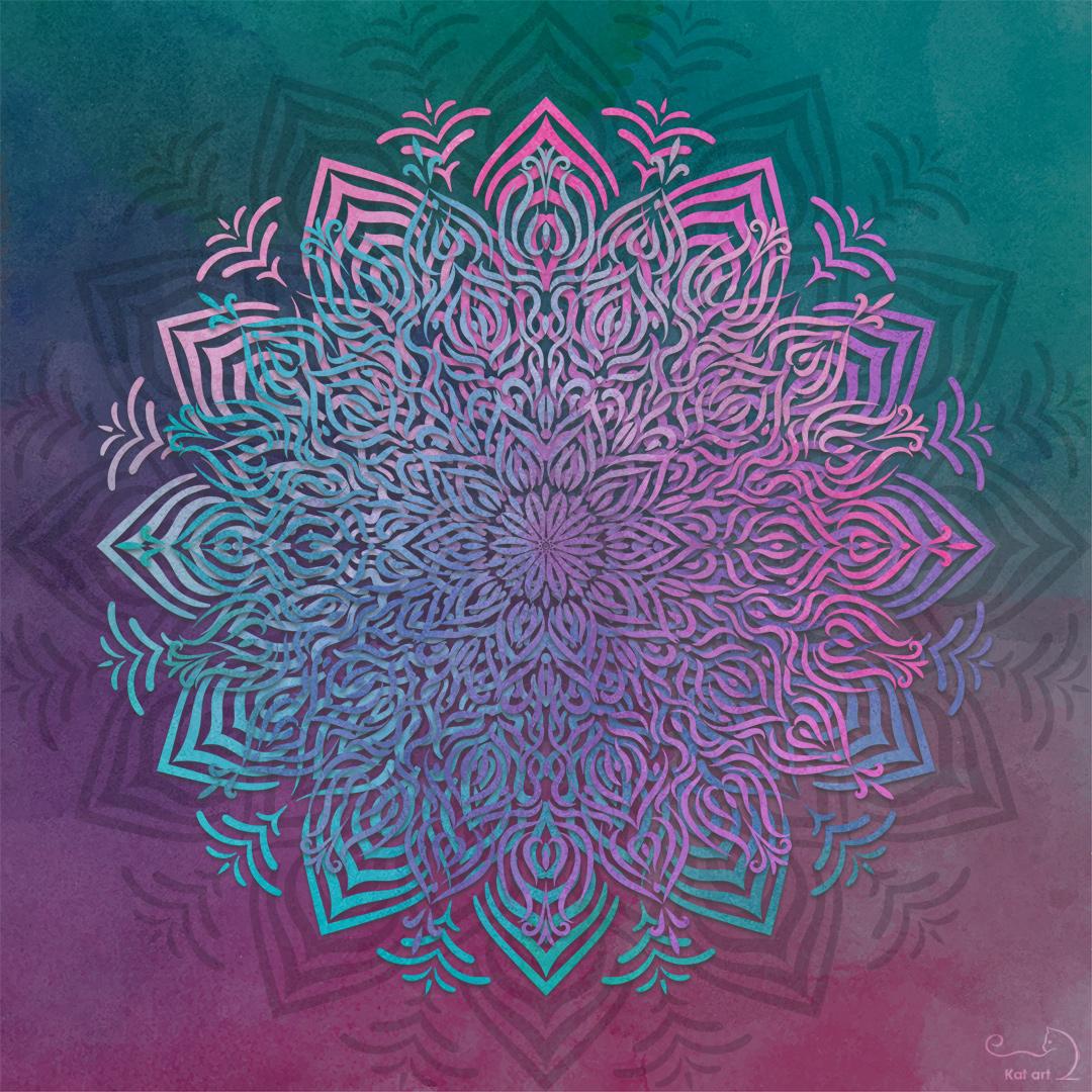 watercolor mandala gemaakt door Kat-Art