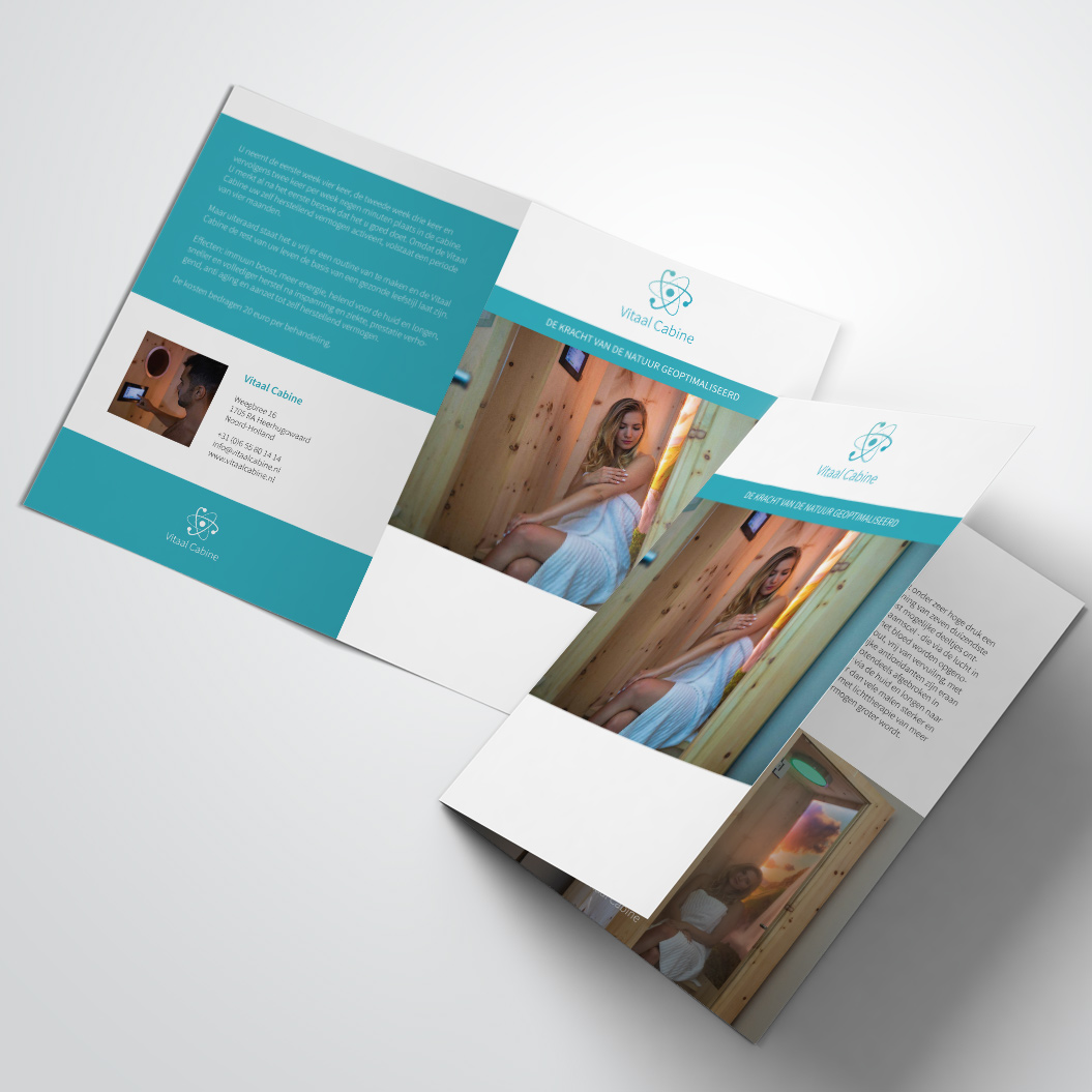 Brochure gemaakt door Kat Design voor Vitaal Cabine